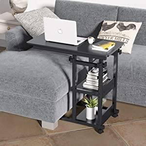 Tribesigns C Table Sofa Side End Table, Mobile Couch Table Laptop Table for Couch Sofa Bed,Height Adjustable TV Tray Table with Storage Shelves for Living Room(Black)