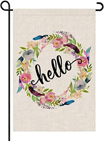"""Hello Floral Spring Burlap Garden Flag Flowers Double-Sided 12.5/"""" x 18/"""""""
