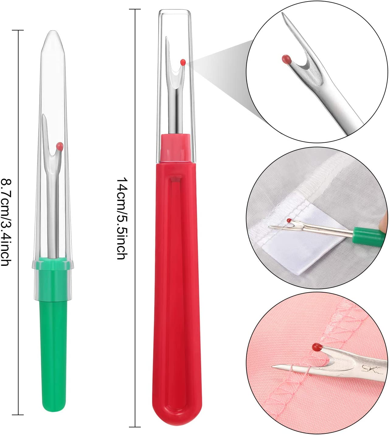 Needle Threader Sewing Set 6 Pieces Automatic Threaders 2 Pieces Seam Rippers 3 Pieces Sewing Thimble and 30 Pieces Assorted Needles for Daily Sewing Problem 10 Pieces Hand Sewing Needle Threader