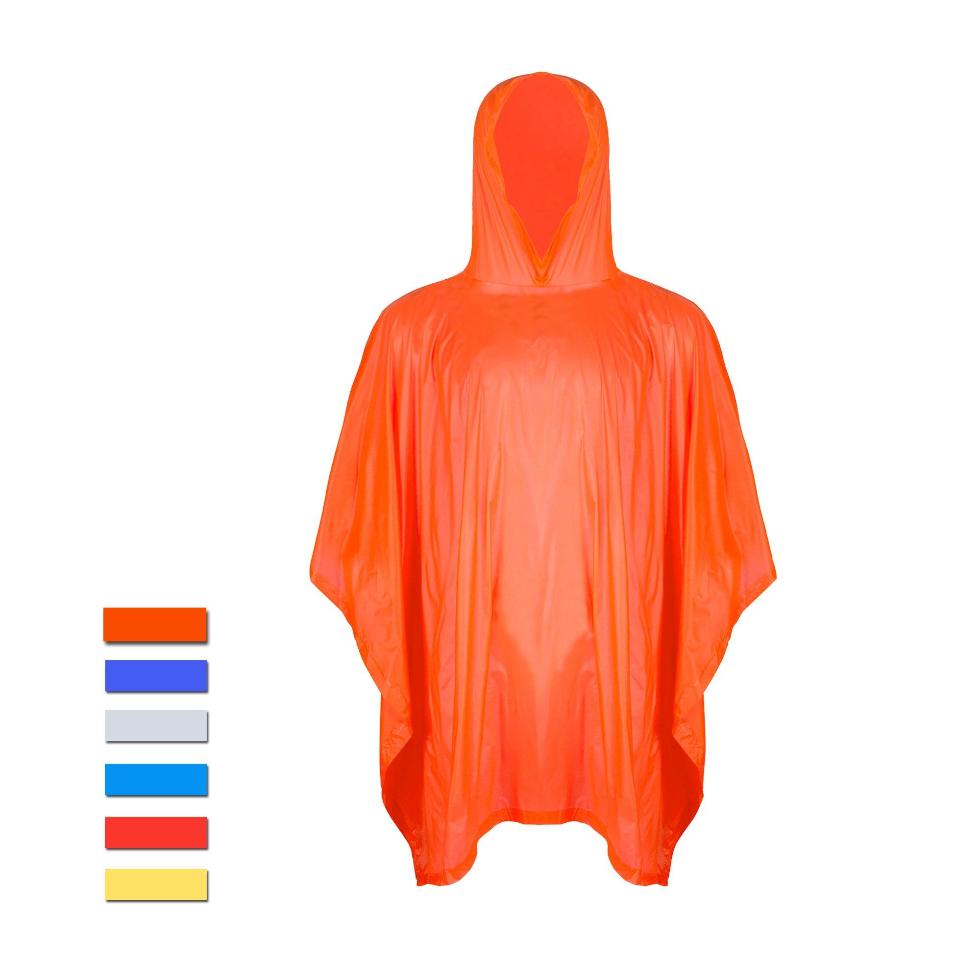 H&C Easy Wear Unisex Rain Poncho,Orange,One Size