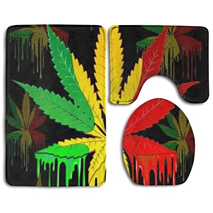happy christmas bathroom accessories bath rug sets 3 piece bathroom non slip floor mat marijuana - Christmas Bathroom Decor Amazon