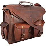 Handmade Genuine Leather Messenger Laptop Bag Briefcase, Rustic Durable Hand-Crafted by Women Artisans Leather Bag