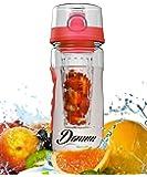 32 oz Fruit Infuser Water Bottle by Danum - Top Detox Bottle, Sport Flip-Top Water Bottle, BPA-Free Eastman Tritan - Free Recipe Ebook
