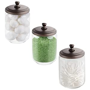 mDesign Storage Organizer Canisters, Apothecary Jars for Bathroom Vanity - Holds Cotton Swabs, Rounds, Balls, Beauty Blenders, Bath Salts - Glass Jar with Metal Lid, 3 Pack - Clear/Bronze
