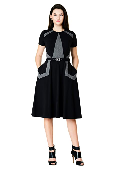 1940s Clothing eShakti FX Colorblock Cotton Knit Dress - Customizable Neckline Sleeve & Length $69.95 AT vintagedancer.com