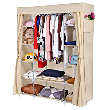 Homdox Portable Clothes Closet Wardrobe Organizer Storage With Curtain And 2 Side Pockets Sliver White