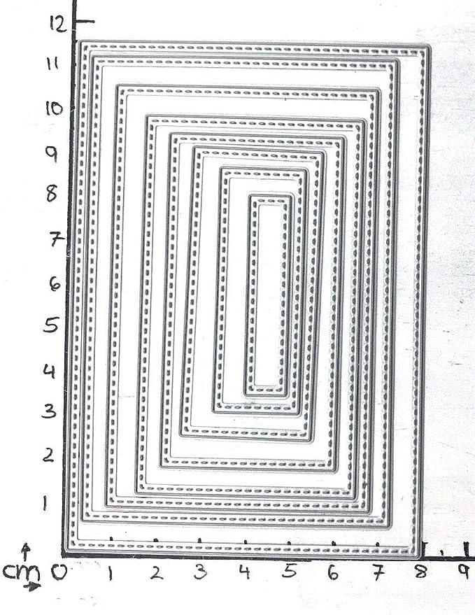 Stanzschablone// Cutting dies Rechtecke abgerundete Ecken bis 10x13 cm 6 Stk