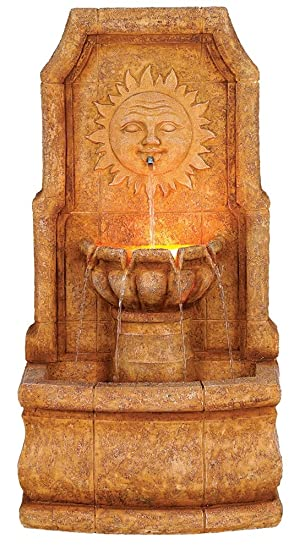 Sun Villa Faux Stone 37u0026quot;H Outdoor Fountain With LED Lights