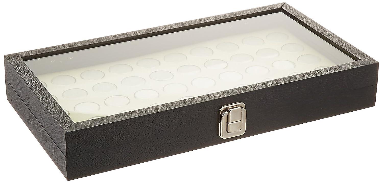FindingKing Glass Top Jewelry Display Case Box White 50 Gem Jars