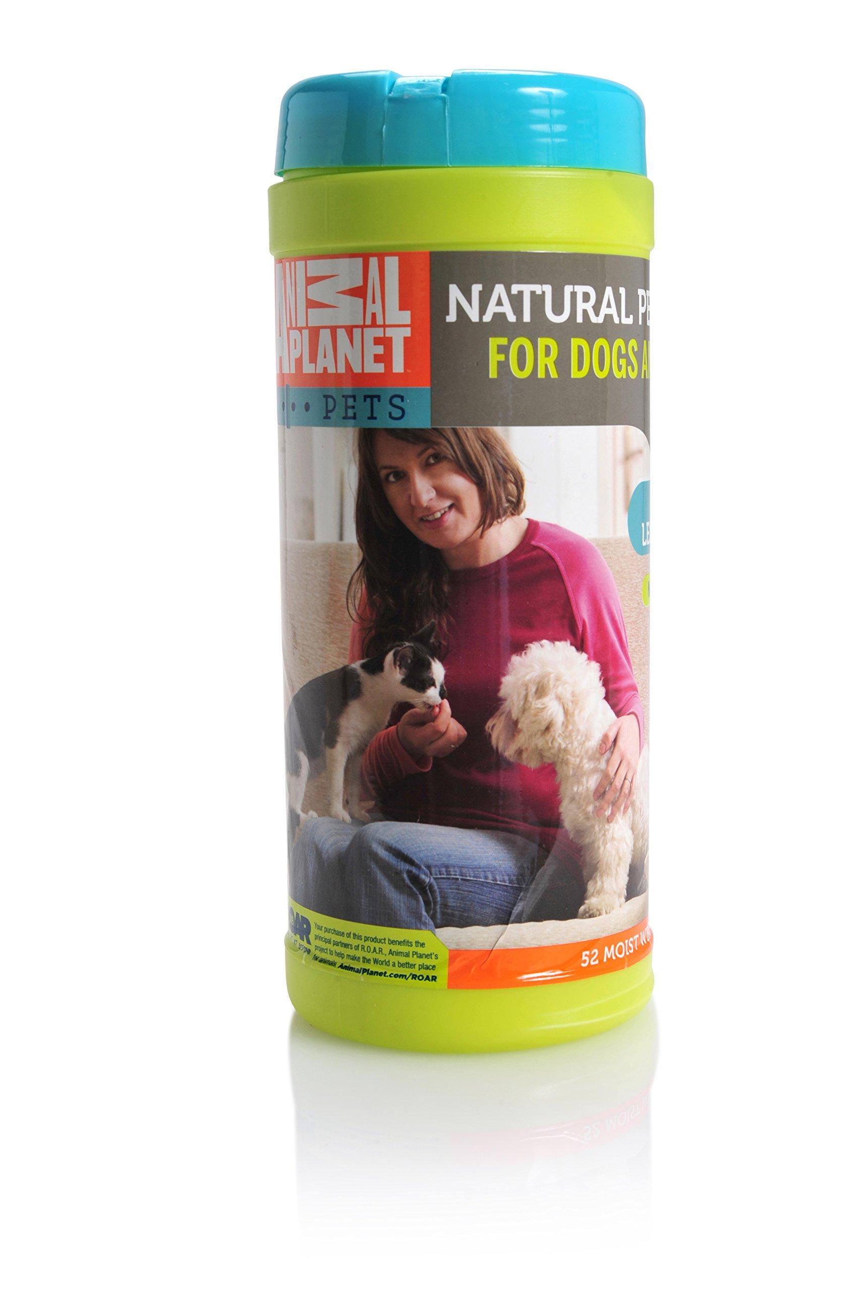 Animal Planet 24005 All Natural Lemongrass Pet Wipes, 8'' x 7''