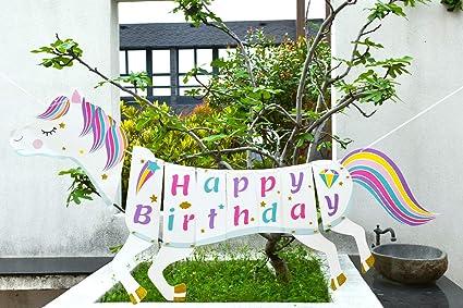 Amazon com: Unicorn Themed Party Supplies Decorations Kit