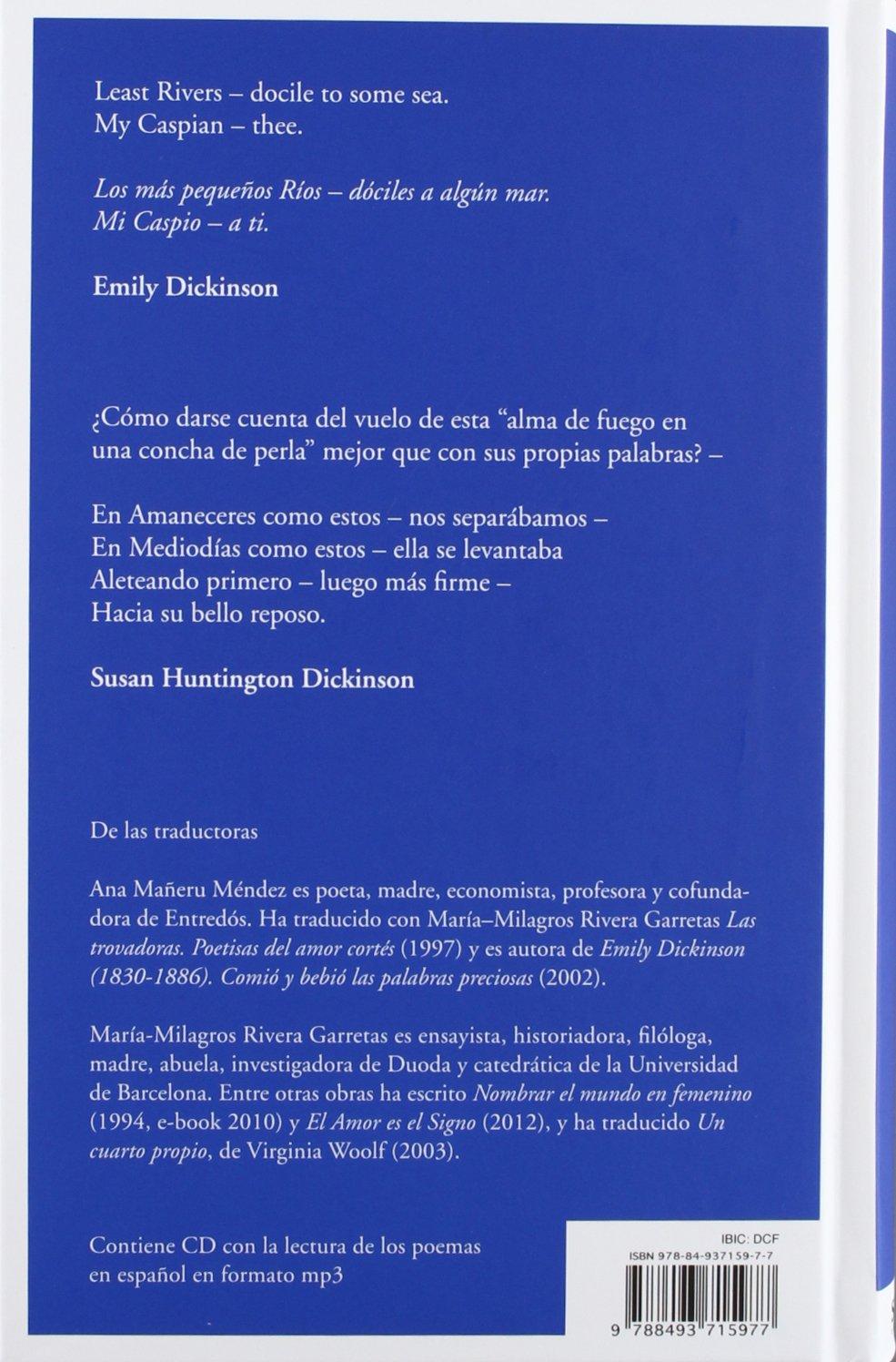 EMILY DiCKINSON. Poemas 1-600 Fue- culpa- del Para¡so Poesía: Amazon.es: Emily Dickinson, Kiki Bauer, Ana; Rivera Garretas, María-Milagros Mañeru Méndez: ...
