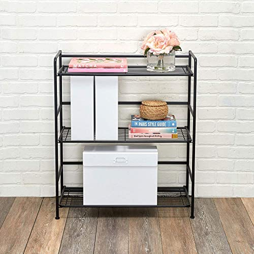 Flipshelf Folding Metal Bookcase-Small Space Solution-No Assembly-Home