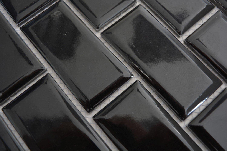 Metro Subway Mosaik Fliese Keramik schwarz f/ür WAND BAD WC DUSCHE K/ÜCHE FLIESENSPIEGEL THEKENVERKLEIDUNG BADEWANNENVERKLEIDUNG WB26M-0303