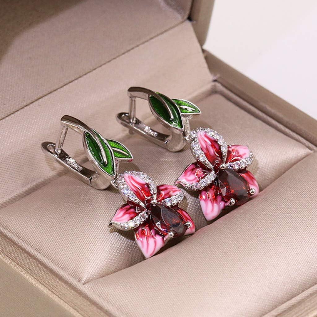 JZZJ 925 Argent Rose Lily Fleur Boucles doreilles Pendantes /ÉMAIL Fait Main Naturel Gem Pierre Rouge Grenat CZ Pierre()
