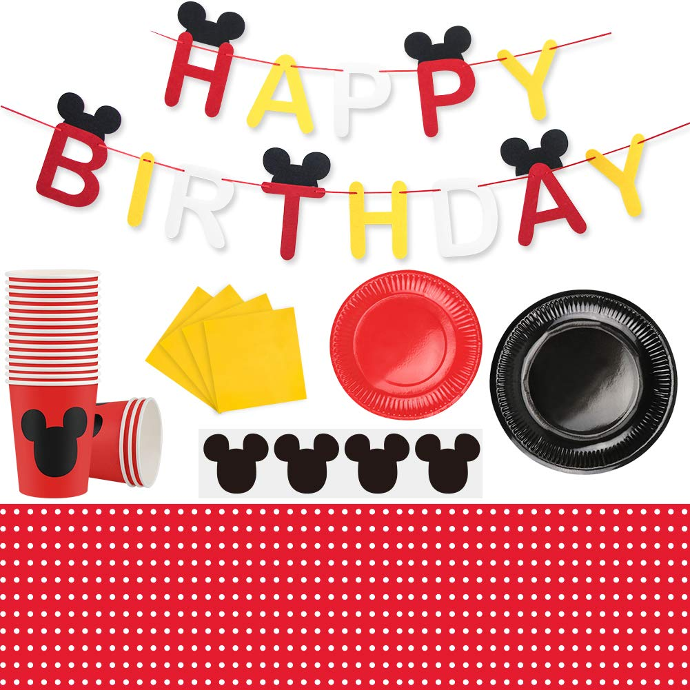 Mickey Mouse Party Supplies Set, Large Plates Cups Napkins Tablecloth Tableware Kit for Kids Party Decorations Mickey Mouse Theme Party Supplies by Aiernuo