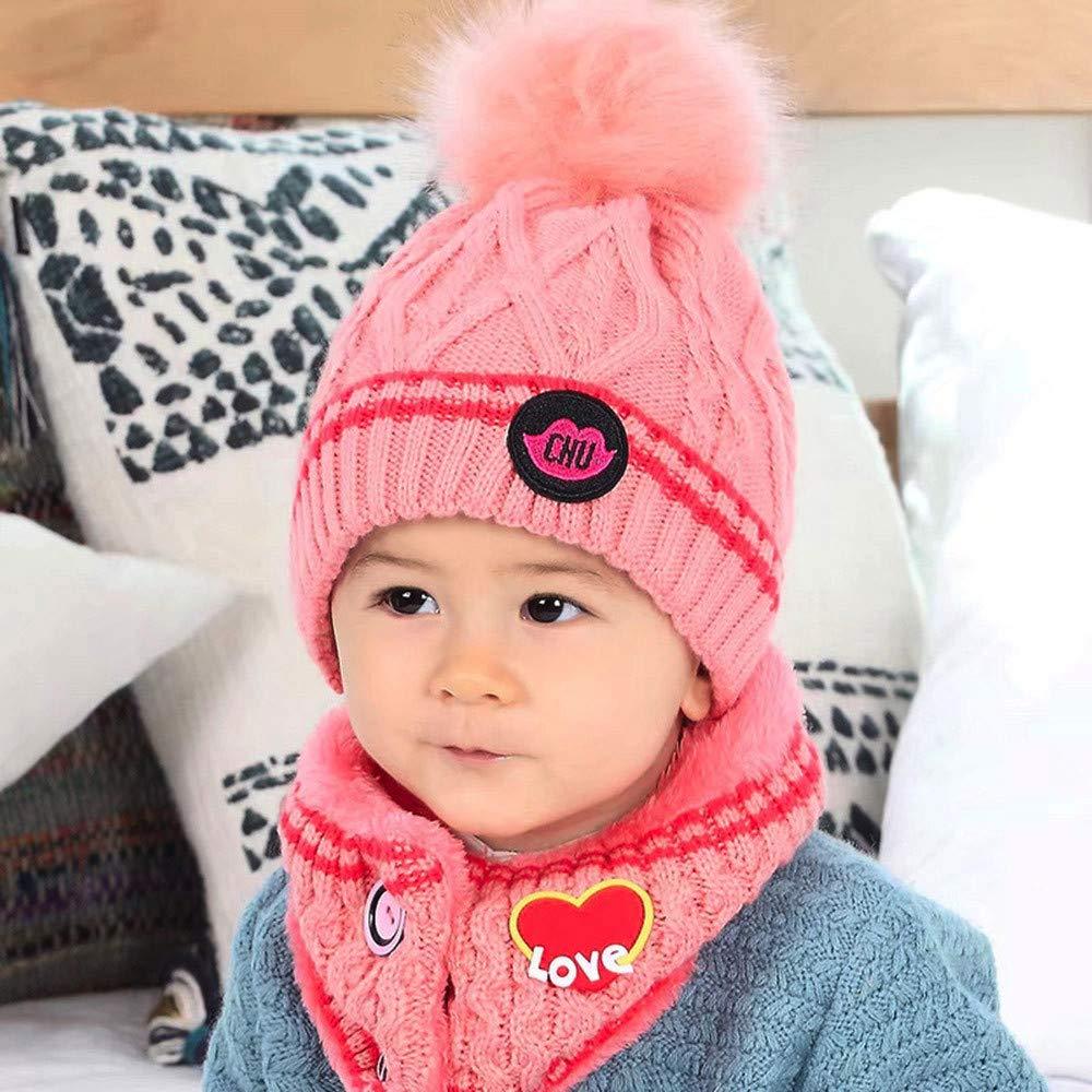 Pink EnjoCho New Fashion 2Pcs Toddler Baby Girls Boys Heart Print Winter Warm Knitted Beanie Cap+Scarf Keep Warm Children Hats