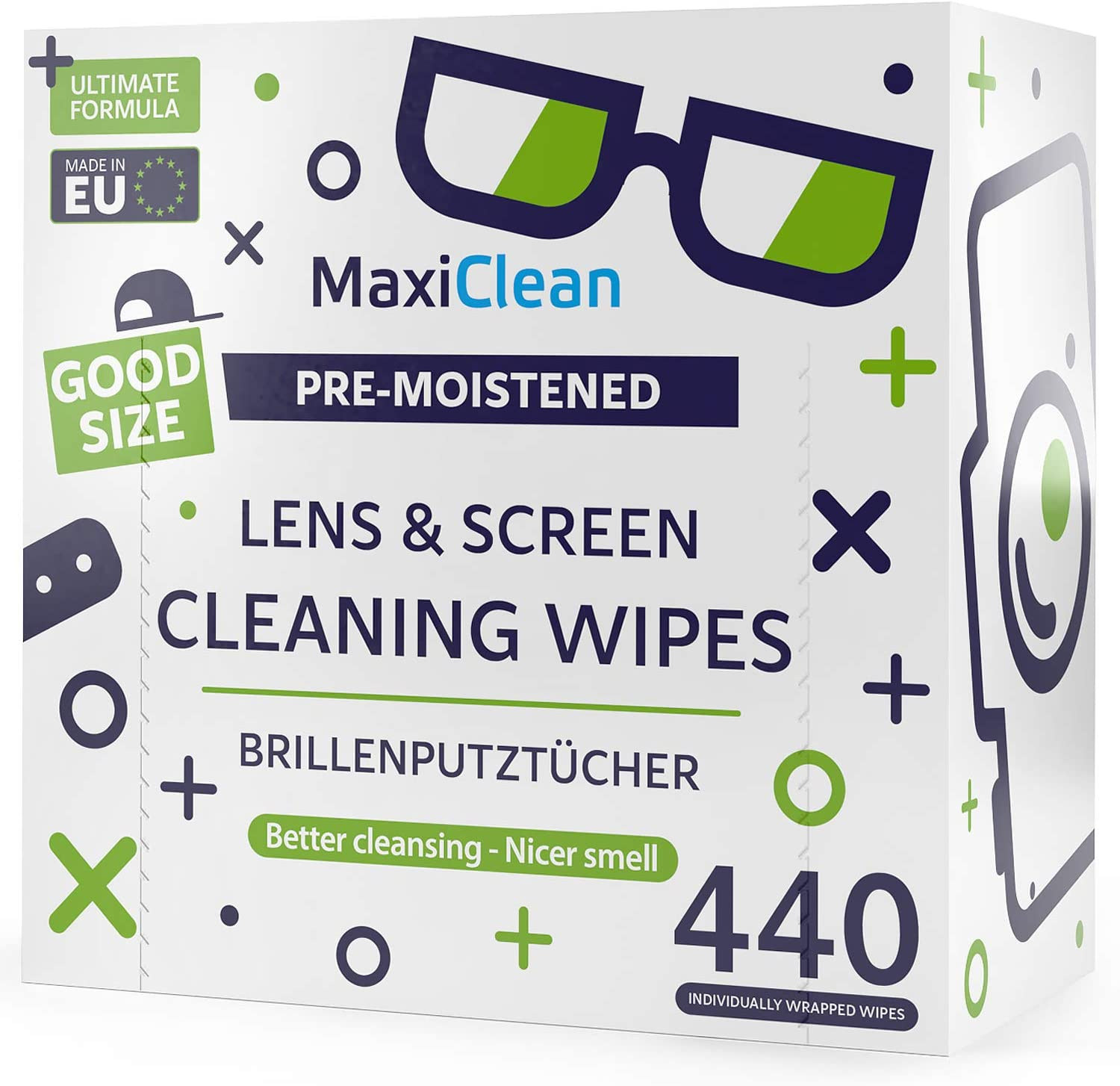 MAXI CLEAN Lens Wipes - 440 Pre-moistened Eyeglass Cleaning Wipes - Cleaner for Glasses, Laptops Screens, Binoculars, Optical Lens, Watch Screens, Made in Europe