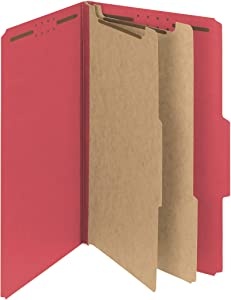 """Smead PressGuard Classification File Folder with SafeSHIELD Fasteners, 2 Dividers, 2"""" Expansion, Legal Size, Bright Red, 10 per Box (19202)"""