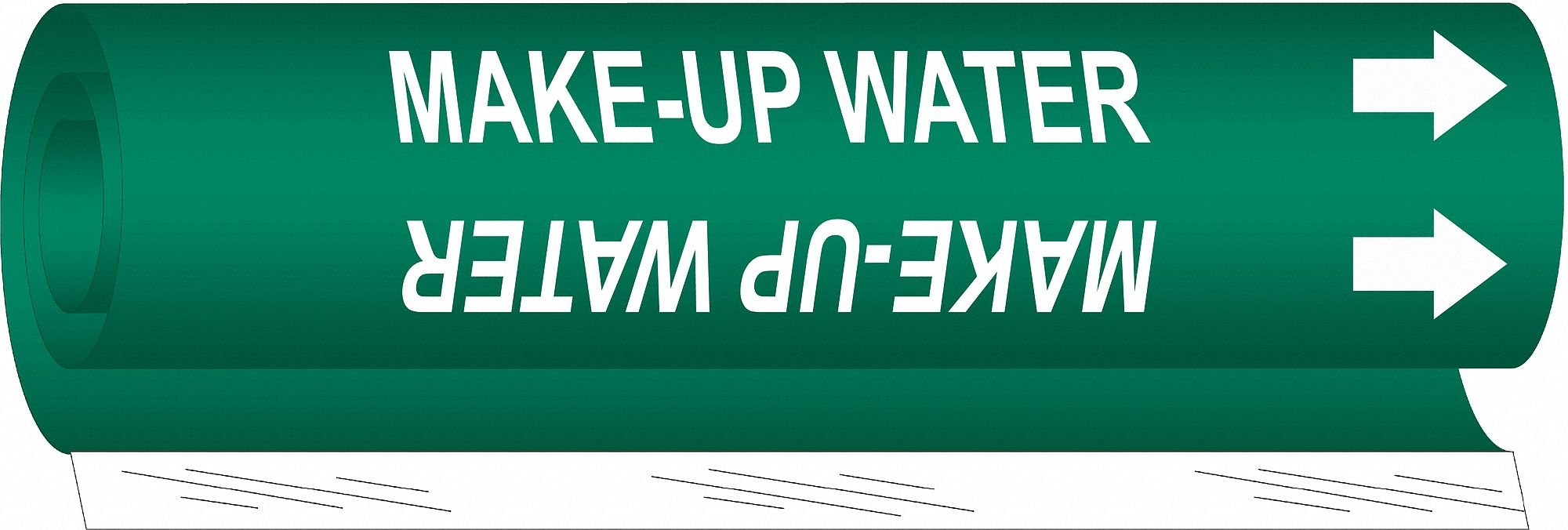Pipe Mrkr,Make Up Water,2-1/2to7-7/8 In