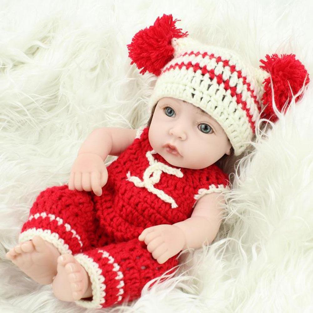SHTWAD 28cm/11 Zoll Reborn Baby/Puppe Vollen Silikon KöRper Auge ÖFfnen Nettes Kind Spielzeug Geschenke