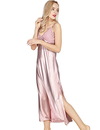 c324b84a7b4 Bifast Women Satin Nightgown Lace Elegant Lingerie Trimmed Full Length Slip Sexy  Sleepwear Dress at Amazon Women s Clothing store