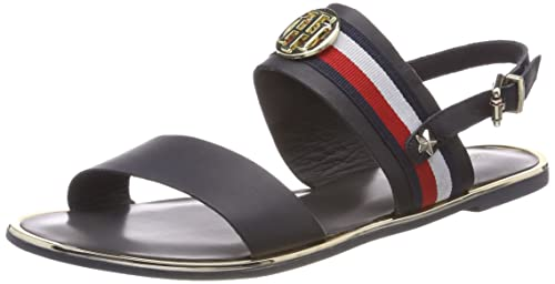 Corporate Ribbon Flat Sandal, Sandalias de Talón Abierto para Mujer, Blanco (Whisper White 121), 39 EU Tommy Hilfiger