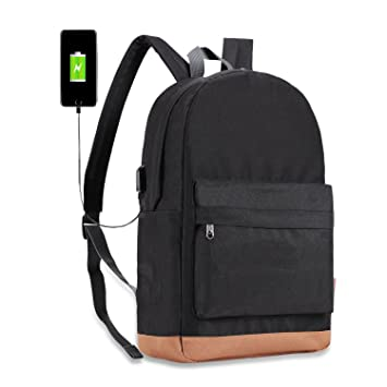 buy sale nice shoes choose newest Tinyat 15 Inch Laptop Backpack Black Water Resistant College Rucksack with  USB Charge Port Casual Daypack for Men Women Hiking Travel Outdoor,T101