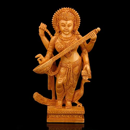 CraftVatika Goddess Sarasvati Statue – Wooden Hand Carved – Hindu Goddess Saraswati Sculpture of Music and Knowledge Saraswati Playing The Vina Figurines