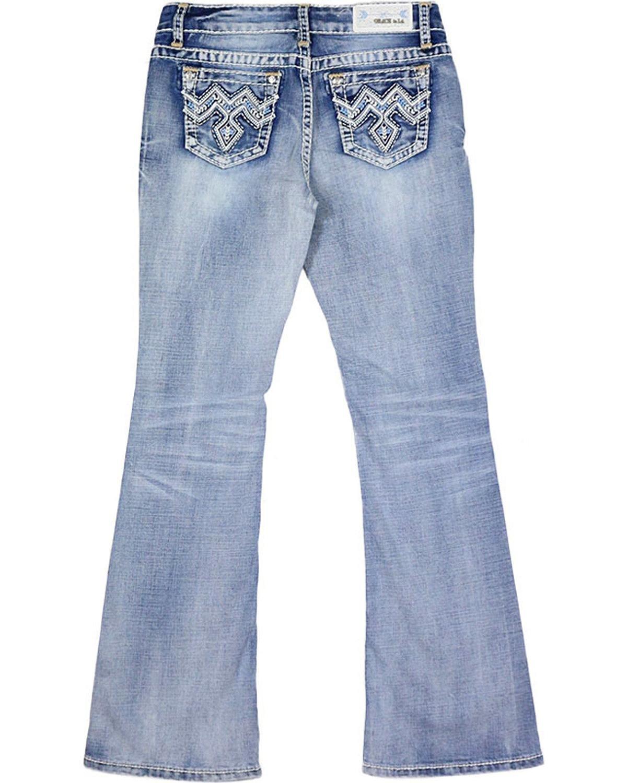Grace in LA Girls' Blue Stitched Pocket Jeans Boot Cut Blue 8