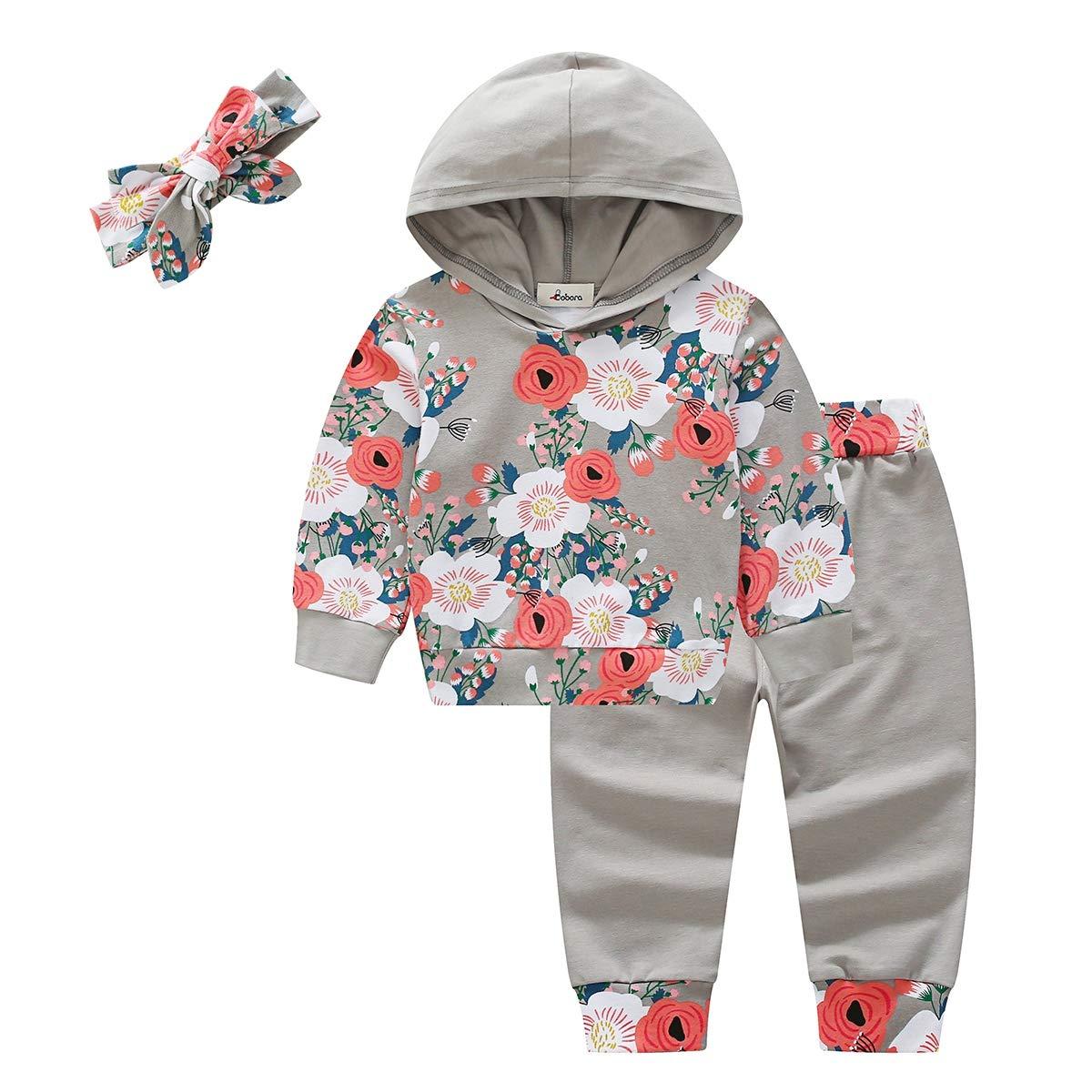 Baywell Neonato Bambina Felpa con Cappuccio Manica Lunghe + Pantaloni+Fascia Abiti Set TOP-YBY-0304EN