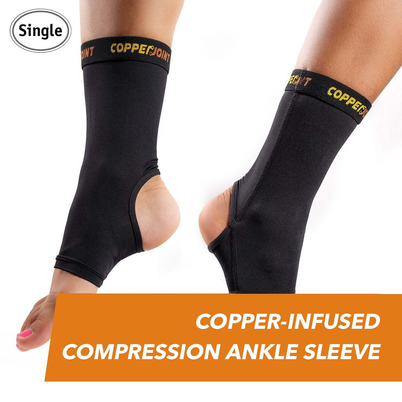 CopperJoint Copper-Infused Compression Ankle Sleeve, High-Performance, Breathable Design Provides Comfortable and Durable Joint Support for All Lifestyles, Single Sleeve (Medium)