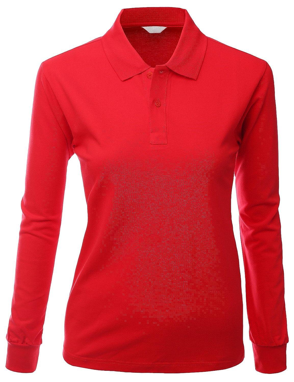 27fa376e518 Xpril Women's Cotton PK Silket Polo Dri Fit Long Sleeve Collar T Shirt at  Amazon Women's Clothing store: