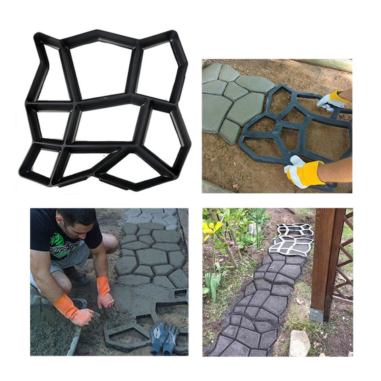 3 Pack Irregular DIY Pavement Mold Walk Maker Path Maker Brick Mold Concrete Form Pathmate Stepping Stone Molds for Concrete Mould Reusable for Garden, Court Yards, Patios and Walks, 17 x 17in Ginbel Direct