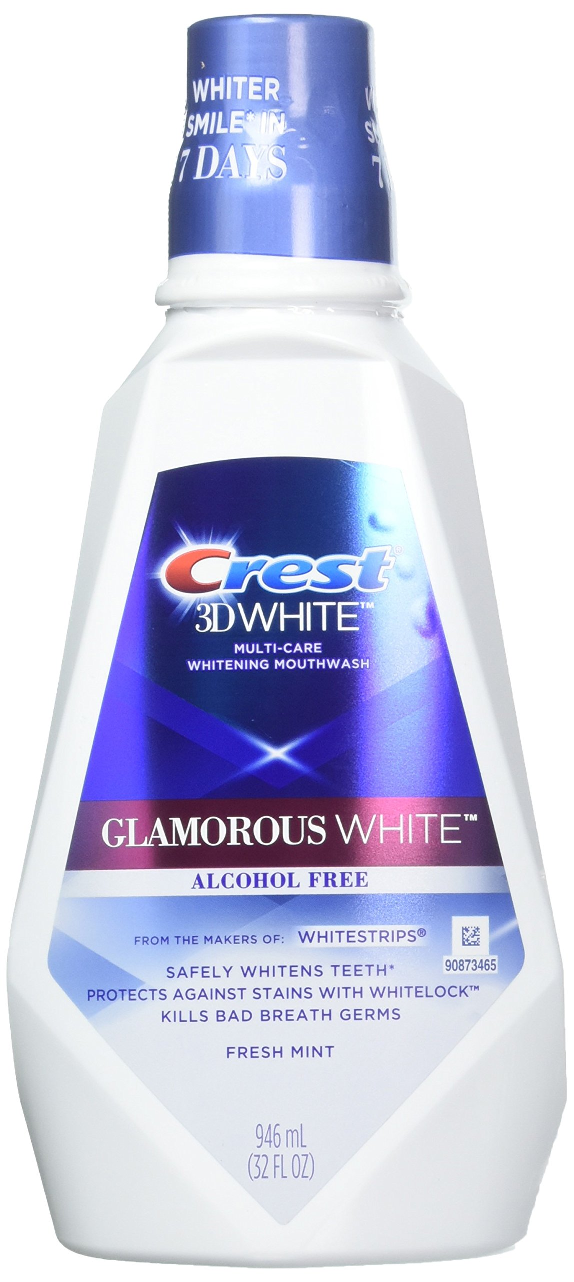 Crest 3D White Multi-Care Whitening Rinse, Glamorous White, Fresh Mint - 32 oz - 2 pk