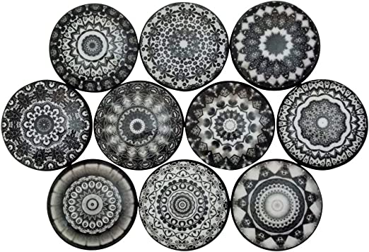 vintage style-NEW Set of 4 round ceramic patterned or plain furniture knobs