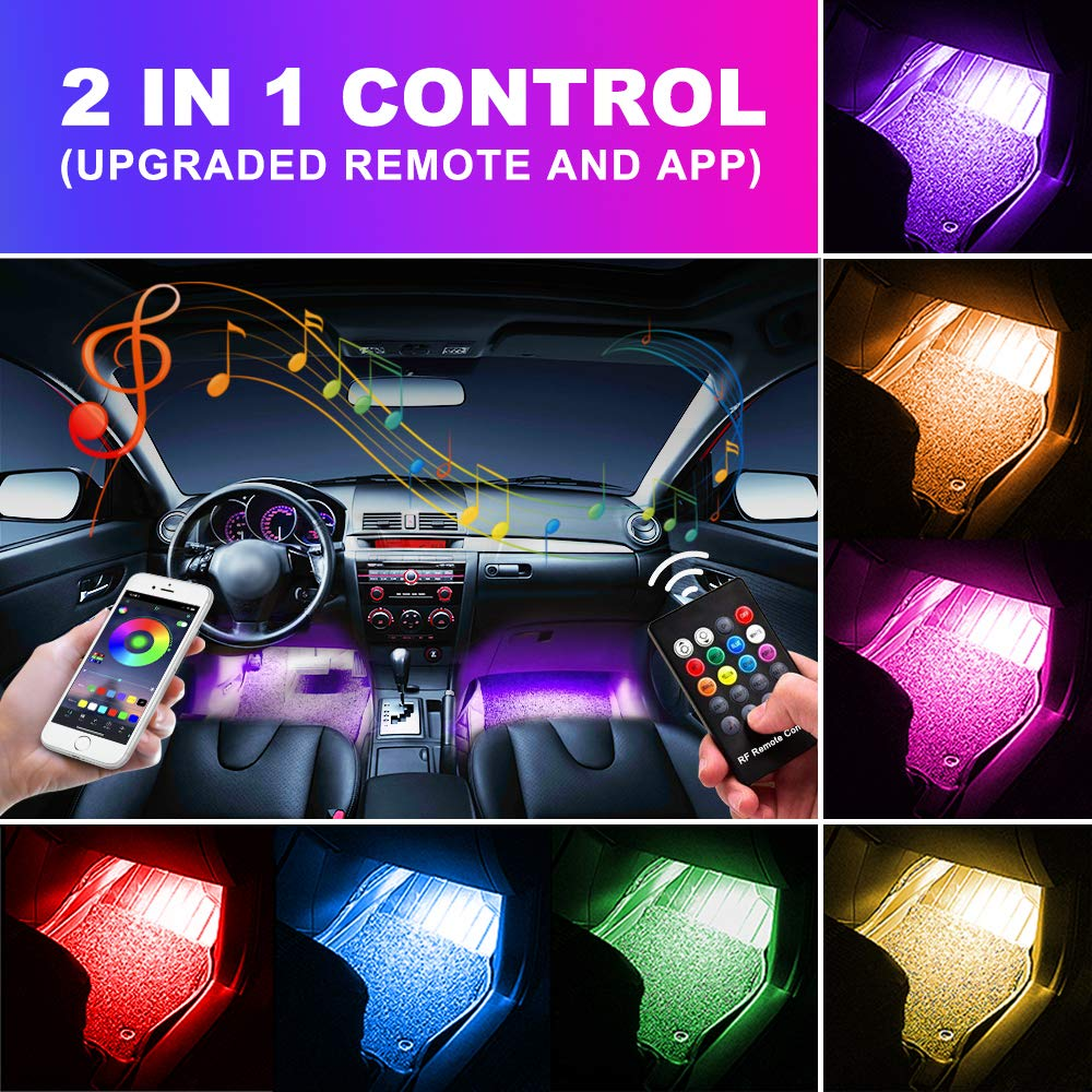 OXILAM Car LED Strip Light,Upgraded RF Remote and APP Two-in-one Control, 4pcs 48 5050SMD LED Multicolor Music Car Interior Lights Under Dash Lighting Kit,Sound Active Function, Waterproof (DC 12V)