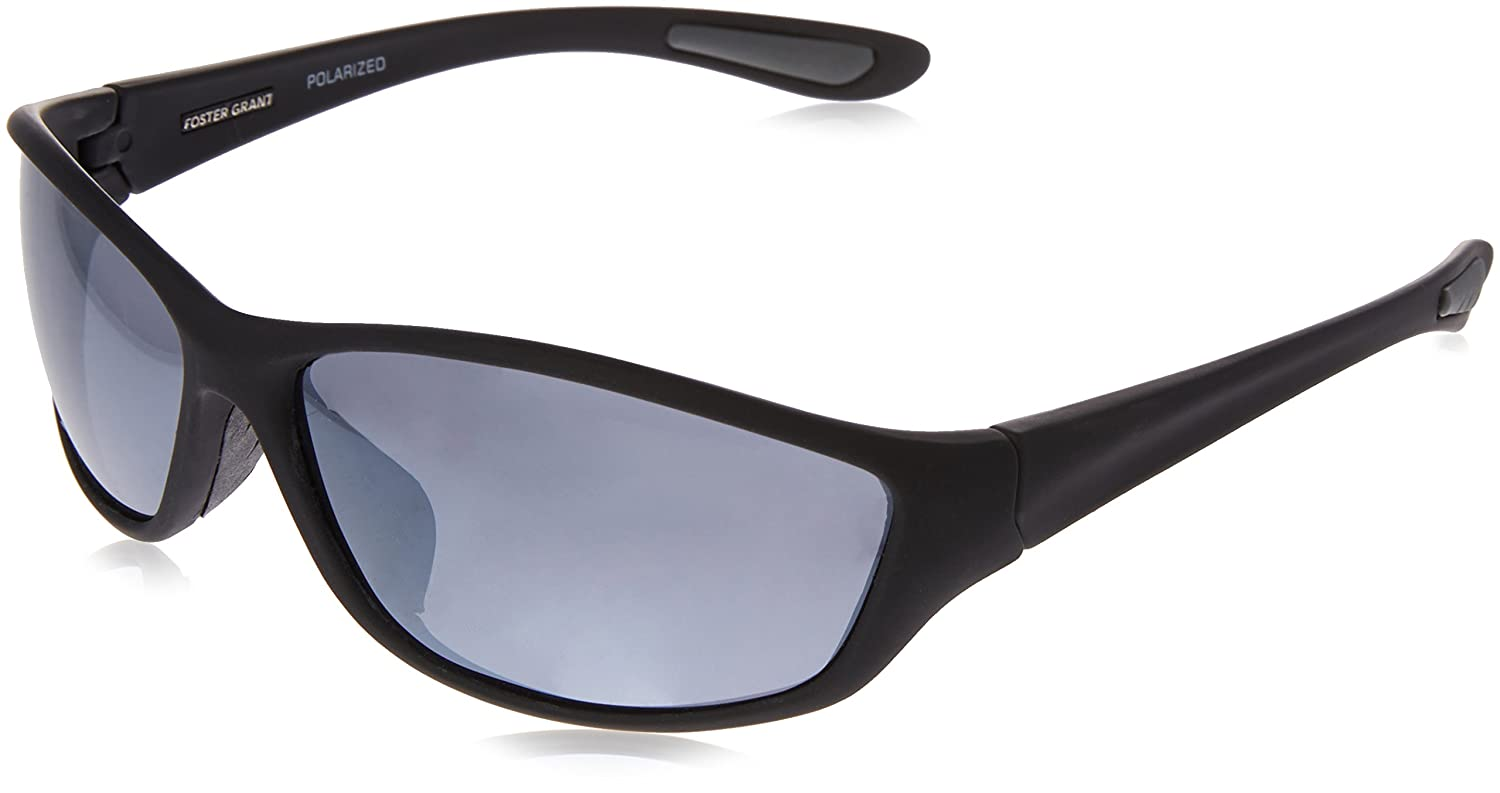dc0e28858557 Amazon.com: Foster Grant Men's Backstop Polarized Wrap Sunglasses, Black,  150 mm: Clothing