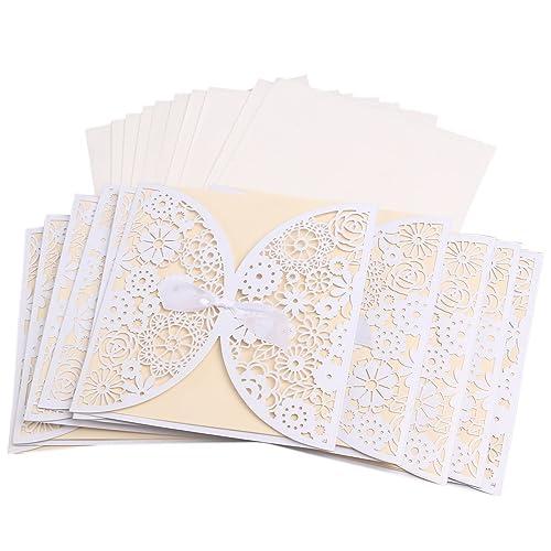 Invitation card amazon musuntas 50pcs diy laser cut vintage lace flower wedding invitation template invite card cover with white stopboris Images