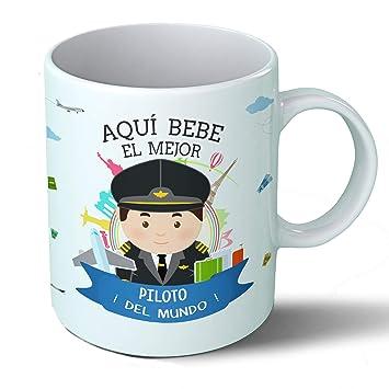 Planetacase Taza Desayuno Aquí Bebe el Mejor piloto de Avion del Mundo Regalo Original Ceramica 330 ML: Amazon.es: Hogar