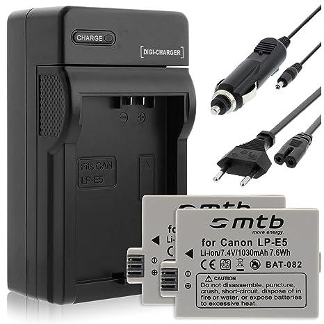 2 Baterías + Cargador para Canon LP-E5 / EOS 450D, 500D, 1000D / Rebel T1i, XS, Xsi