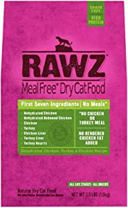 Rawz Meal Free Dry Cat Food Dehydrated Chicken, Turkey Chicken Recipe (3.5 lb)