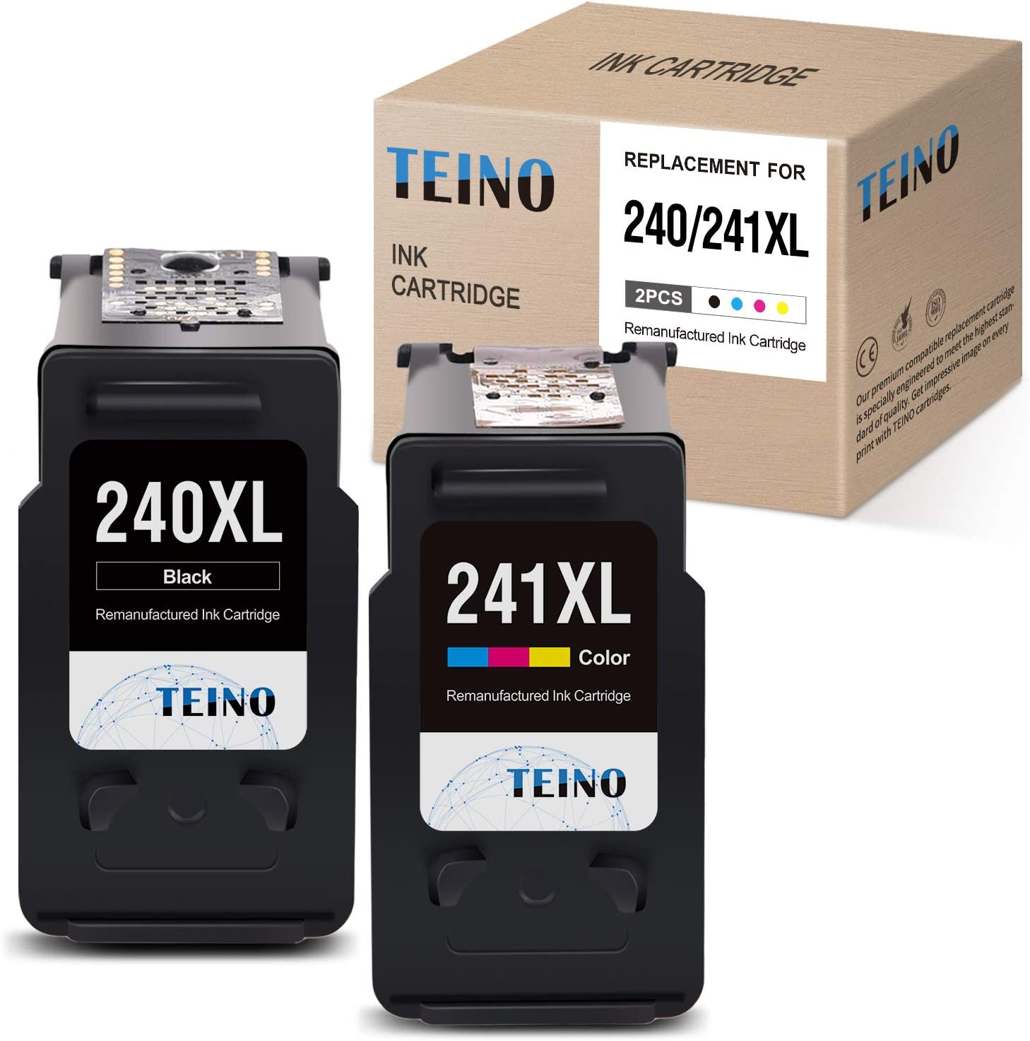 TEINO Remanufactured Ink Cartridges Replacement for Canon PG-240XL 240 XL CL-241XL 241 XL for Canon PIXMA MG3620 TS5120 MX532 MG3520 MX452 MX472 MX432 MG2120 MG3222 (Black, Tri-Color, 2 Pack)