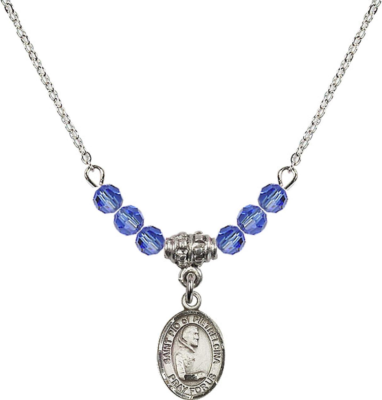 Bonyak Jewelry 18 Inch Rhodium Plated Necklace w// 4mm Blue September Birth Month Stone Beads and Saint Pio of Pietrelcina Charm