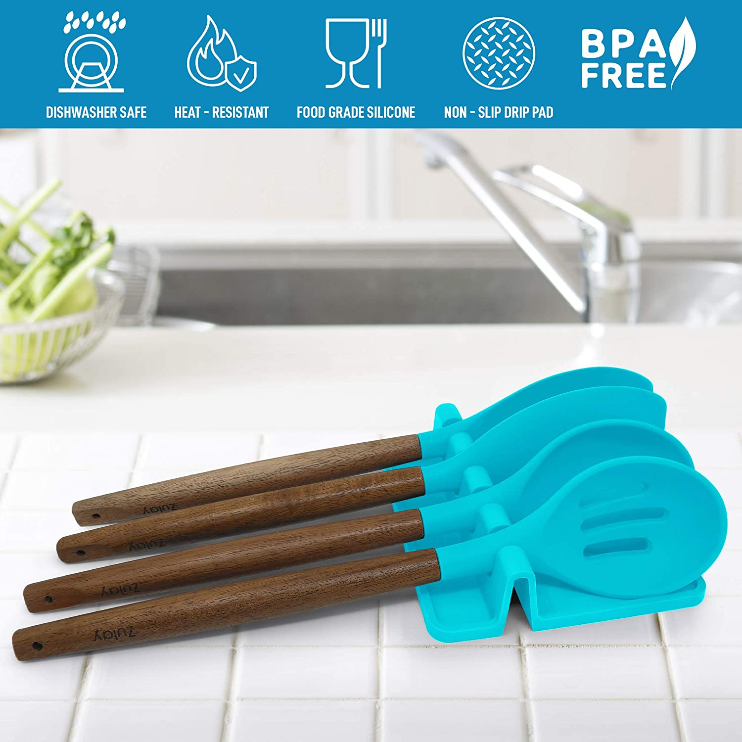 BPA-Free Spoon Rest /& Spoon Holder for Stove Top Heat-Resistant Kitchen Utensil Holder for Spoons Ladles Blue Silicone Utensil Rest with Drip Pad for Multiple Utensils by Zulay Tongs /& More