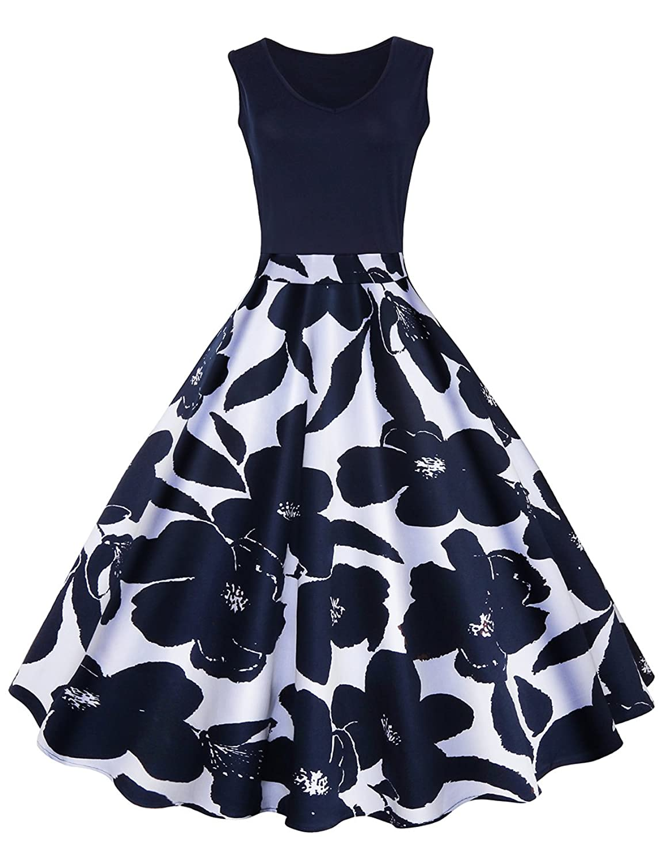 0b5bafb46e6 80%OFF iShine elegant Rockabilly Kleid Damen Knielang V-Ausschnitt 50s  Retro Vintage Faltenrock