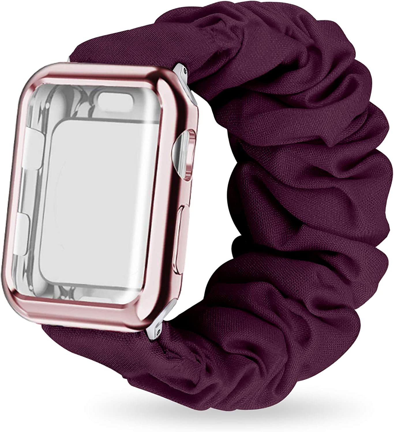 MORETEK Scrunchie Watch Band Compatible with Apple Watch Bands 38mm 40mm 42mm 44mm with Screen Protector Case Women,Soft Replacement Wristband Compatible for iWatch Series 6 SE 5 4 3 2 1