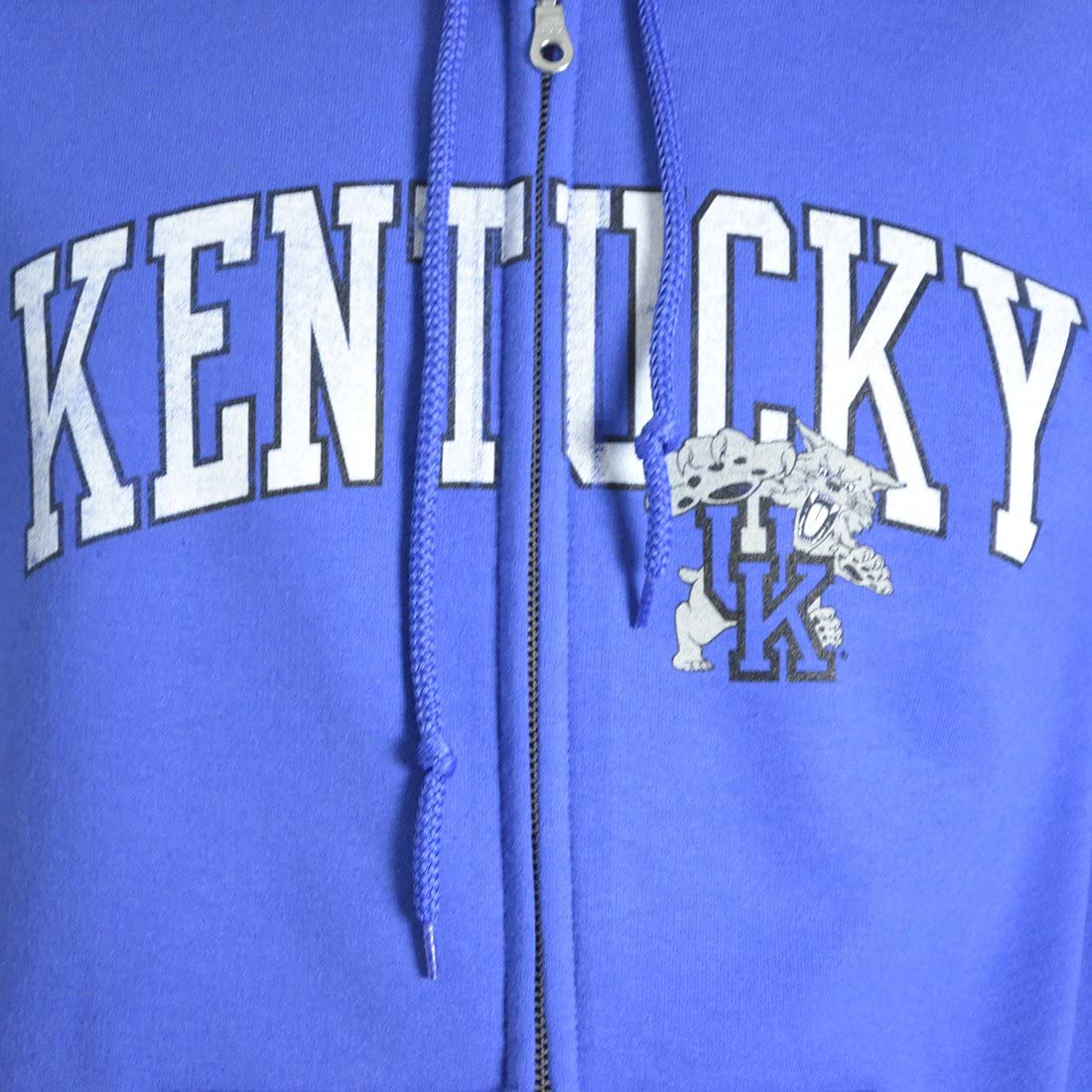 University of Kentucky Distressed Arch on a Blue Zip Up Hoodie