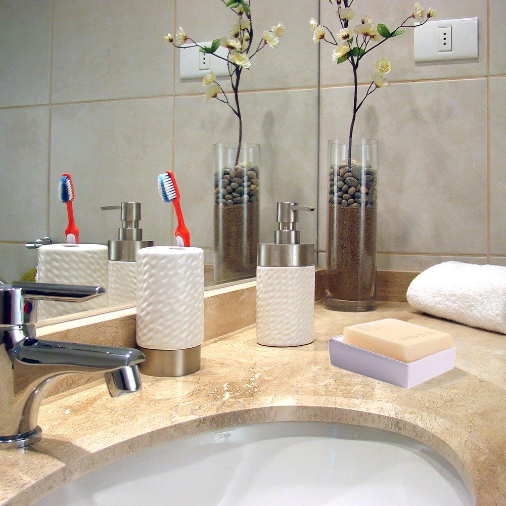 lennonsi Porte-savon en acier inoxydable Eau /Égouttoir Passoire europ/éenne innovante faite /à la main en c/éramique Porte Savon Bo/îte porte-savon de salle de bain double couche Appliances