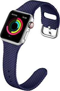 GEAK Compatible with Apple Watch Band 38mm 40mm Women Men Series 6, Comfortable Flexible Textured Weave Pattern Sport Wristband for Apple Watch SE Series 6 5 4 3 2 1, Navy Blue